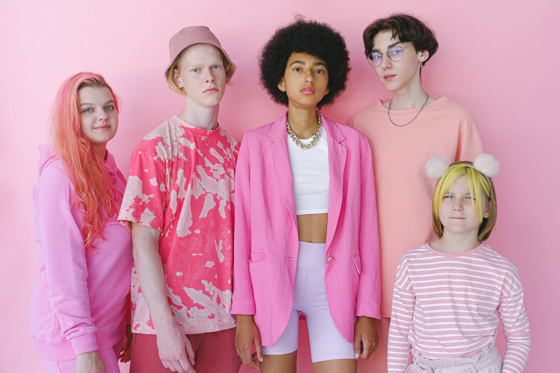 diverse teenagers in different stylish outfits