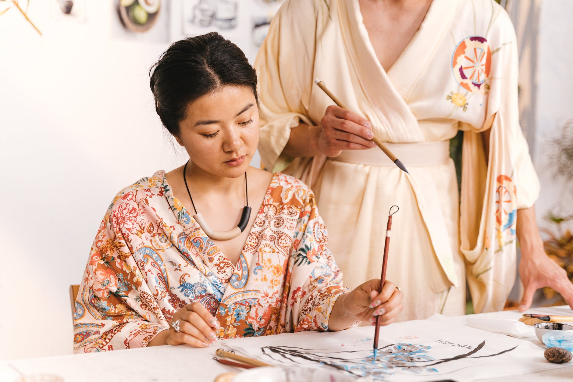 a woman doing artworks
