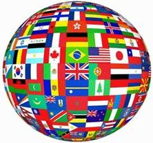 Flags on globe picture