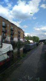 LTDA Hired blimp floating 16 floors up above the Hathaway House site next to the canal.