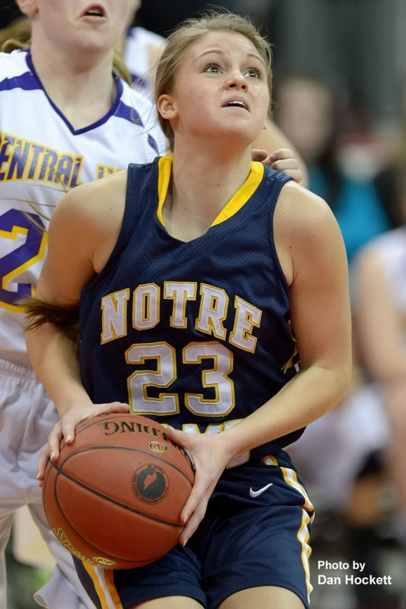 Photo by Dan Hockett Notre Dame's Courtney Abolt looks to the basket against Top-Ranked Central Lyon in the Class 1A Semifinal Thursday morning at Wells Fargo Arena in Des Moines. Central Lyon defeated Notre Dame, 76-53.