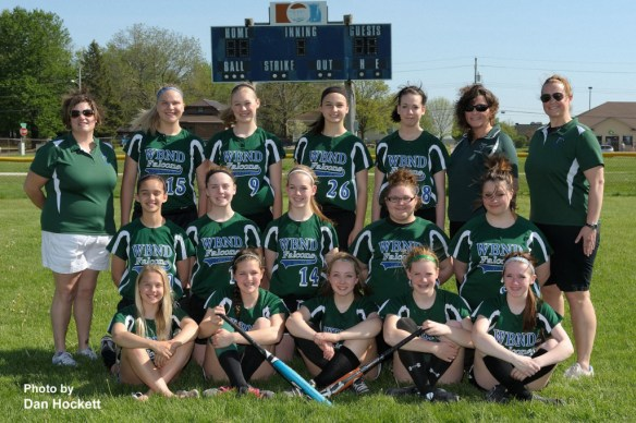 Photo by Dan Hockett WBND 8th Grade Softball Front row (l-r): Manager Christina Hunter, Mary Rose Roundy, Kathleen McAtte, Katherine Todd, Kaitlyn Spencer. Middle row (l-r): Tigerlily Sorensen, Danielle Graham, Karly Huffman, Samantha Teel, Julie Blakeman. Back row (l-r): Asst. Coach Angie Prottsman, Hope Wolkenhauer, Amber DesJardins,  Delaney Williams, Danielle Reed, Asst. Coachj Tammy Allison, Coach Laura Mickey. Not pictured: Erika Lofthus