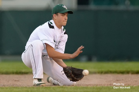 Photo by Dan Hockett West Burlington Second Baseman Nathan Crooks fields a ground ball against Danville Friday night in West Burlington. West Burlington defeated Danville, 15-0 in 4-innings.
