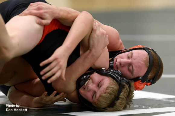 Photo by Dan Hockett West Burlington – Notre Dame - Danville's Dylan Willey posts a major decision against Van Buren's Tyler Runyon in the 132-pound match Monday night in West Burlington.  WBNDD topped Pekin in the first dual, 45-18 and fell to Van Buren, 48-25 in the last dual.