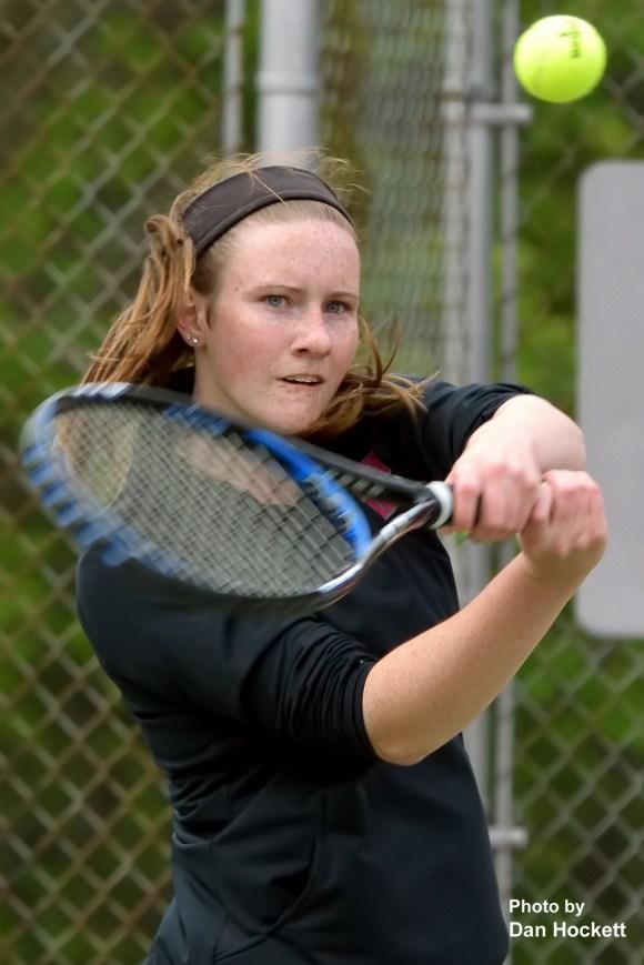Photo by Dan Hockett Notre Dame – West Burlington's Jenna Stewart returns the ball against Fort Madison's Becca Wolfe Tuesday in Burlington.