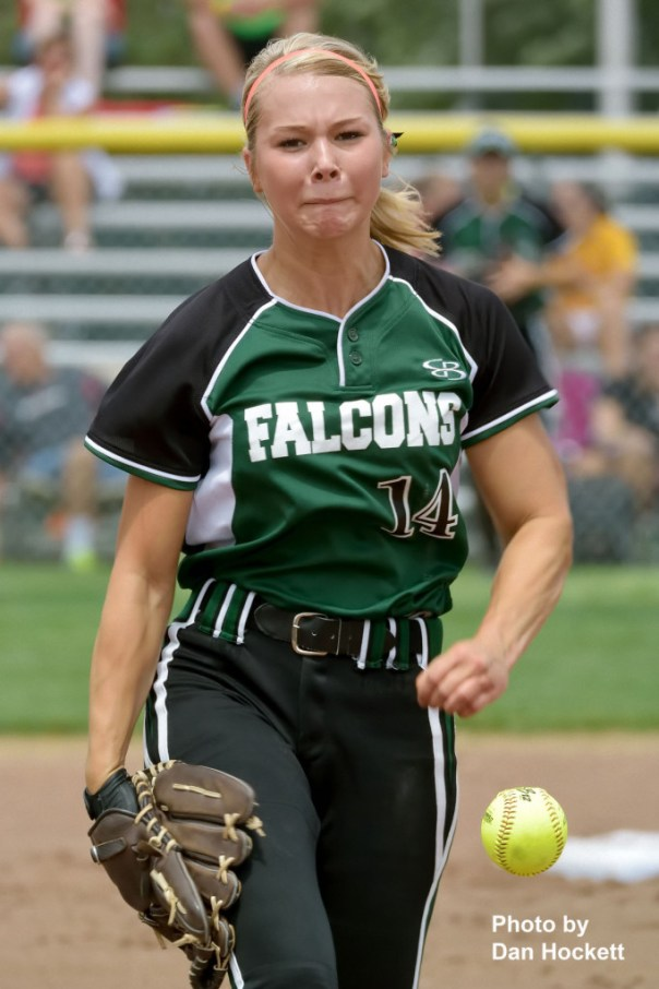 Photo by Dan Hockett West Burlington – Notre Dame Pitcher Reagan Rogerson fires one over the plate against Bondurant – Farrar in the Class 3A State Quarterfinal Monday at Fort Dodge. Bondurant – Farrar defeated West Burlington – Notre Dame, 9-4.