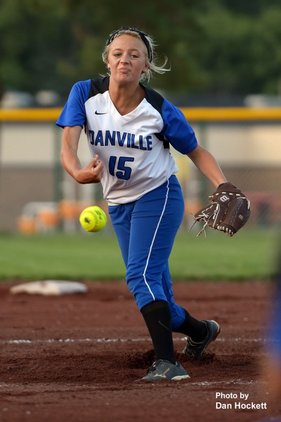 Photo by Dan Hockett Danville Pitcher Courtney Stucker throws the ball across the plate against West Burlington Tuesday night in Danville. West Burlington – Notre Dame defeated Danville, 12-0, in 6-innings.