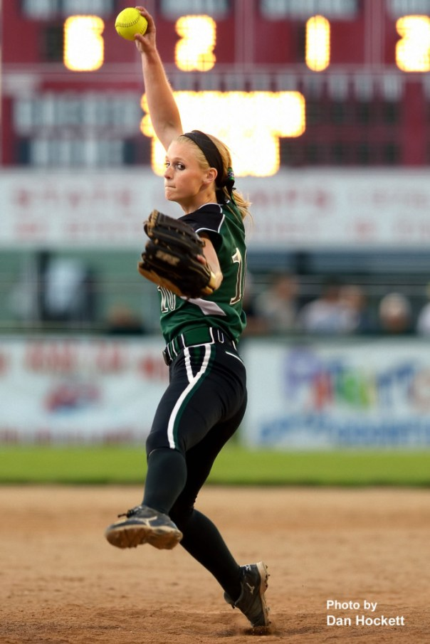 Photo by Dan Hockett West Burlington – Notre Dame Pitcher Kori Mesecher sends one to the plate against PCM during the Region-7 Final in Ottumwa Monday night. West Burlington – Notre Dame defeated PCM, 6-4.