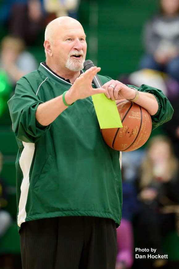 Photo by Dan Hockett West Burlington Coach Rick Raleigh was honored Tuesday night for his many years of dedication to WB Falcons teams. Raleigh will retire this year after more than 30-years of coaching in West Burlington.