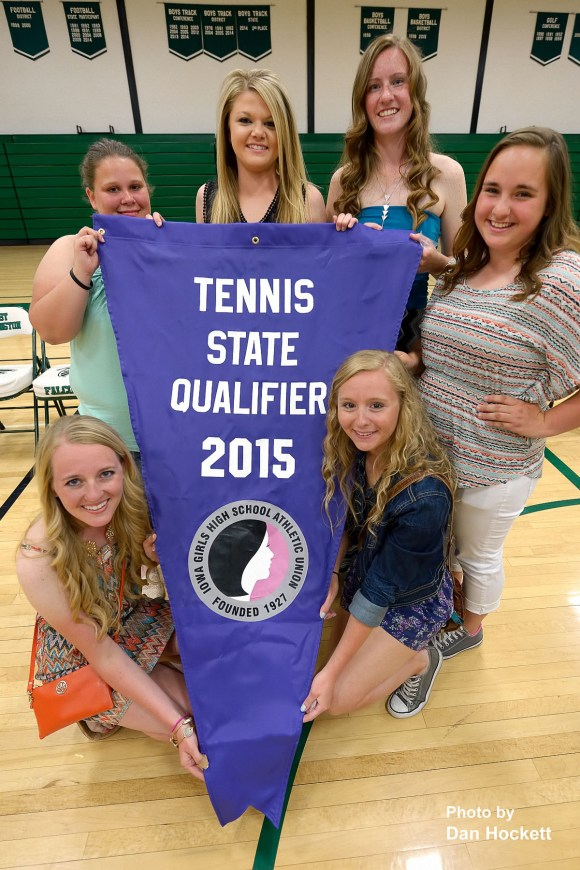 Photo by Dan Hockett Notre Dame – West Burlington Girls' Tennis Team qualifies for State Tournament.  Lower left clockwise: Carly Hoyer, Courtney Cooper, Madison Fry, Jenna Stewart, Cheyenne Bolding, Stephanie Wills.
