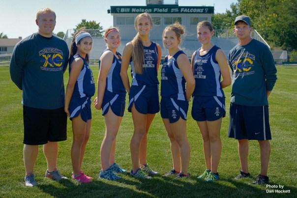 Photo by Dan Hockett Asst: Coach Mike Gurius, Kassidy Rashid, Hayley Engler, Aubrey Schmitt, Maggie Brueck, Hannah Gnann, Head Coach Mike Moffitt.