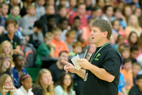 Photo by Dan Hockett West Burlington Arnold High School Principal Bruce Snodgrass welcomes high school and junior high students back to a new school year during the Welcome Back Assembly at the high school gymnasium Tuesday morning.