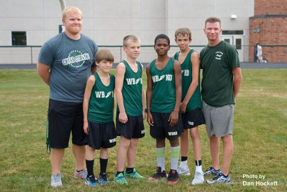 Photo by Dan Hockett Asst. Coach Mike Gurius, Elijah Vance, Gavin Dunkin, K.J. King, Colten Sherwood, Head Coach Mike Moffitt.