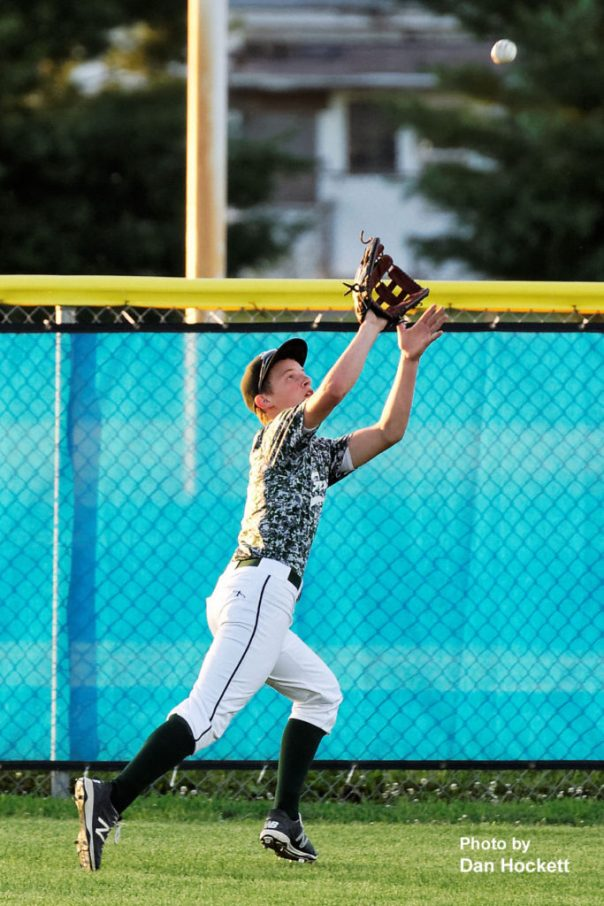 Photo by Dan Hockett West Burlington Centerfielder Daniel Crooks makes a running catch for the out against Wapello in the Class 2A District-10 quarterfinal Saturday night in Wapello. Wapello defeated West Burlington, 2-0.