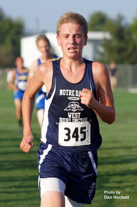 Photo by Dan Hockett Notre Dame – West Burlington's Jonah Marlow competes in the Tony Proctor Invitational Cross Country meet in Burlington Thursday afternoon.