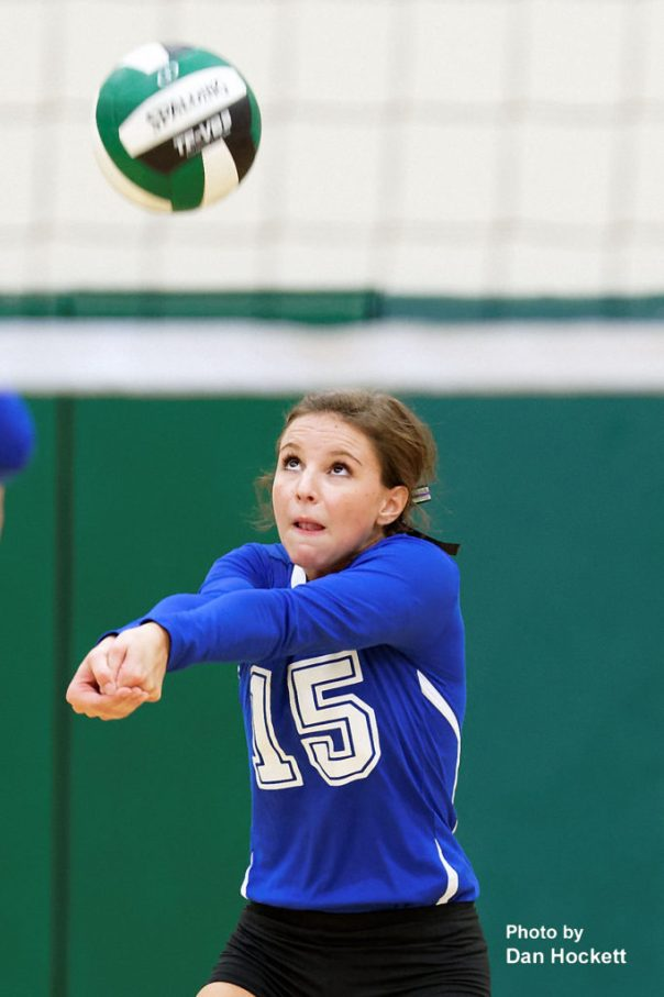 Photo by Dan Hockett Danville's Grace Grothe (15) bumps the ball in to play against West Burlington Tuesday night in West Burlington. West Burlington defeated Danville, 25-22, 23-25, 25-23, 25-19.