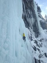 Dan on Carlsberg in wet and chandeliered conditions, Field, BC (Wes Dyck)