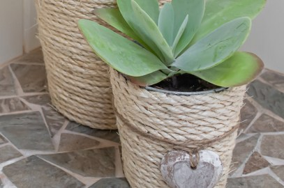 DIY rope wrapped planter project