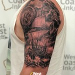 Pirate Ship tattoo for Nathan making his dream come true