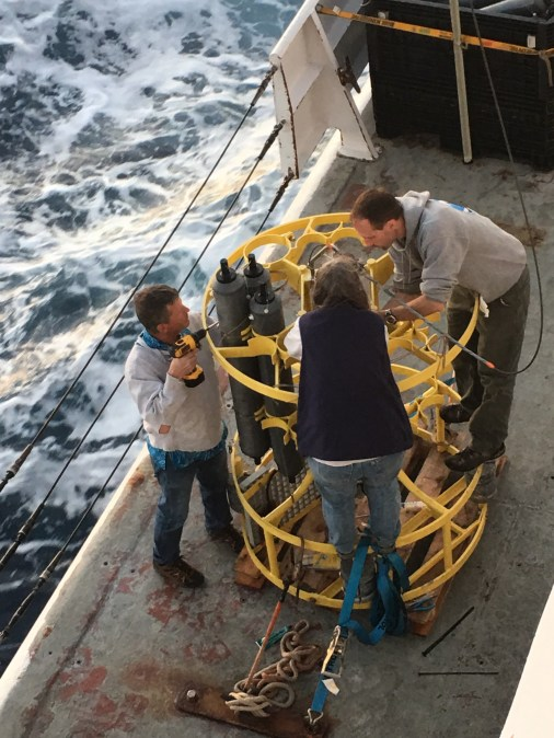 Working on the CTD, getting it ready for deployment. Photo credit: Simone Alin
