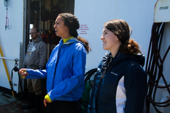 Erin Cuyler and Carrie Weeks share a laugh while waiting for the CTD to surface. Photo Credit: Meghan Shea
