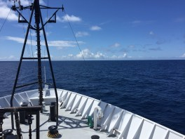 A view off the bow on a sunny day. Photo credit: Jonathan Sharp