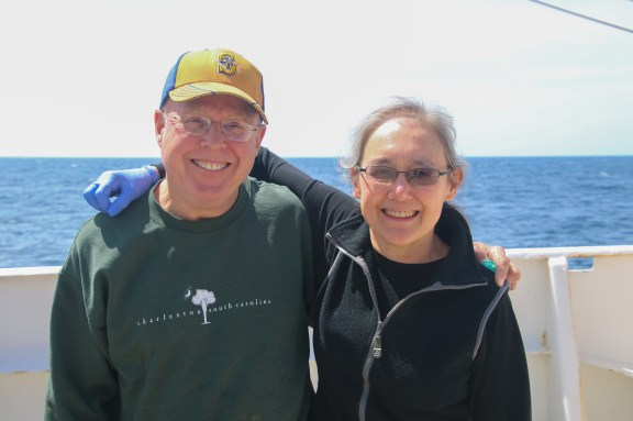 Bill Nilsson and Linda Rhodes smiling on the deck of the Ronald H. Brown. Photo Credit: Meghan Shea