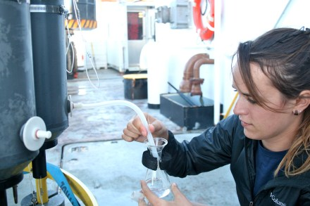 Taking an oxygen sample from the CTD. Photo credit: Emma Hodgson