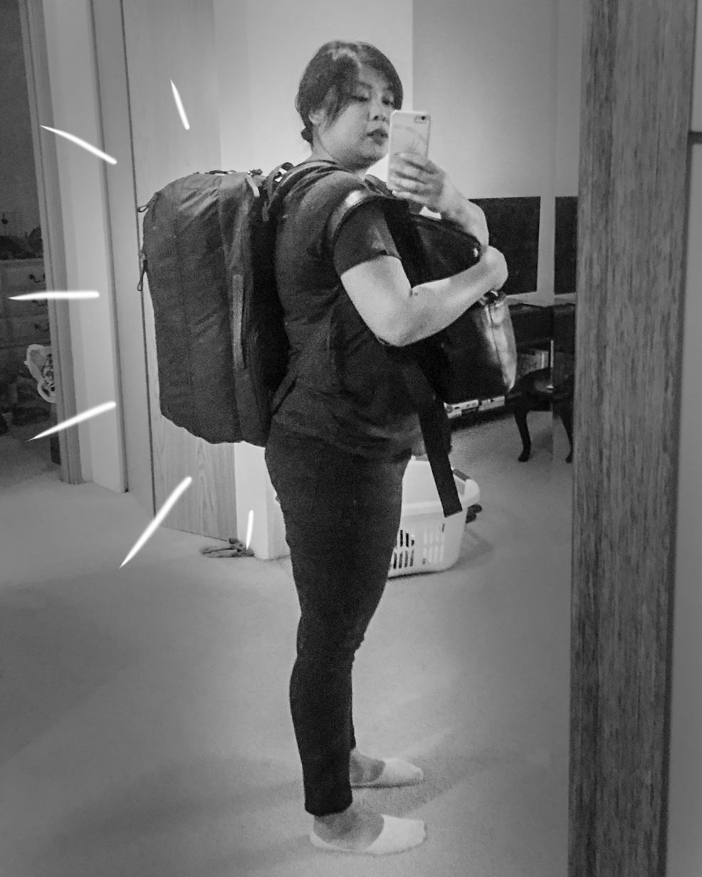 Amy with her backpacks