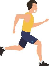 man happily running