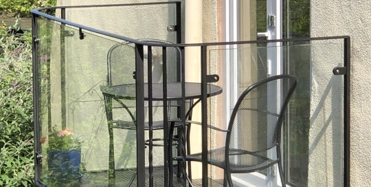 Metal and glass balcony