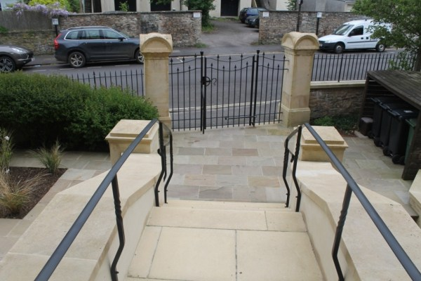 Entrance of house in Clifton showing Gates, Railing & Handrails by West Country Blacksmiths.