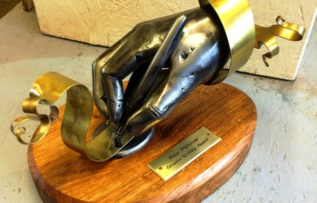 Ross Paterson Creative writing award sculpture by West Country Blacksmiths