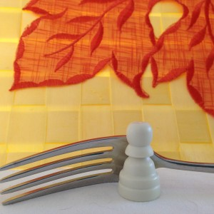 White pawn with fork
