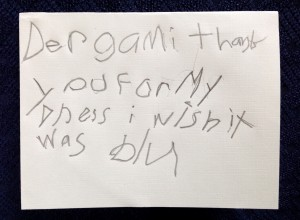 "Translation: ""Dear Grammy,  Thank you for my dress.  I wish it was blue."""