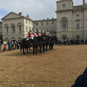 The Horse Guards start at Whitehall and trot on up to Buckingham Palace.
