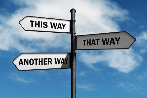 Signpost representing choices (this way, that way, another way)