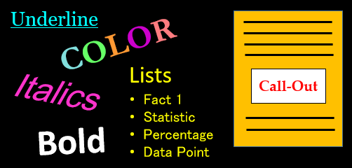 Empahsis helps readers pick out important details. Image shows examples of underline, color, italics, bold, bulleted list, call-out.