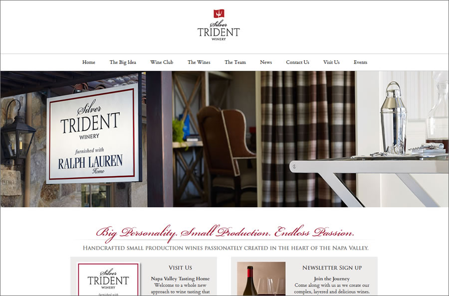 eCommerce Winery Website for Silver Trident Winery