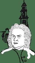 getekende afbeelding van J.S. Bach met Westertoren