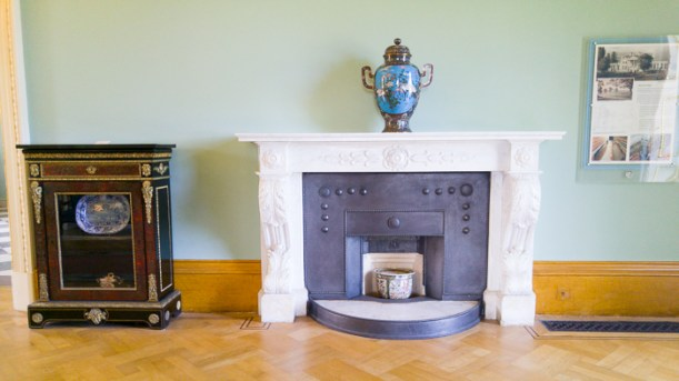 Hylands House - Saloon - fireplace with Japanese Vase (1) and Pier cabinet (3)