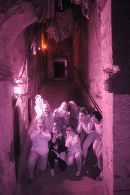 Group photo in the Mary King's Close which is an underground tour of the old town closes where the plague ran rampant and history now remains.