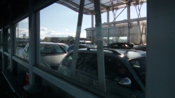Cars packed in on the transporter going across to Port Clarence