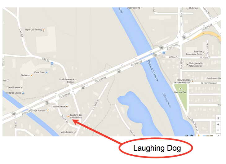 Map to the Laughing Dog Coffee House