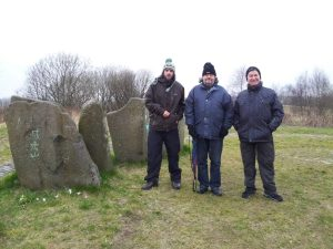 BSD member Tom Jones visiting the site, with Duncan Lunan and BSD President Grahame Gardner