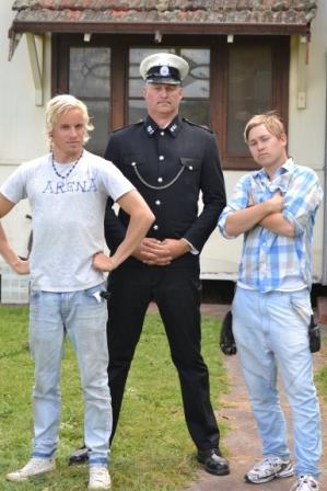 Kjetil Astrup, left, and Markus Bakkegaard Hermansen, right, at their film set.