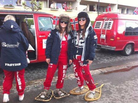 """Norwegian high school students celebrate """"russetiden""""."""