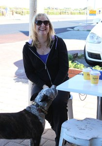 Duncraig resident Collette Speaks, 52 with her cattle dog staffie Reggie at Voyage for their morning coffee