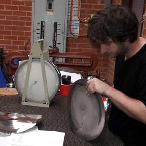 Connor Dalton splitting an electroplated vinyl.