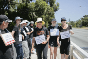 Campaign run by Love: 'Human chain event' people opposing live export. Image: Stop live exports WA